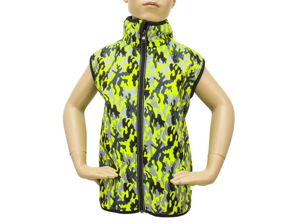269ab2a49 Vesta SOFTSHELL 30/15 - zeleno žlutý maskáč - Dětské oblečení Fantom